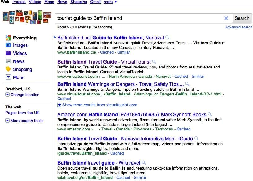 the websites google deems most relevant, trusted up to date for baffin island search