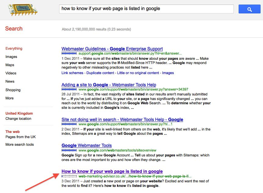how to know if your web page is listed in google page listed search results