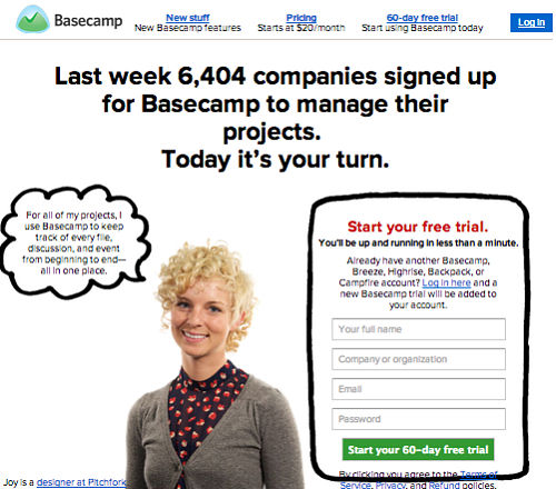 Basecamp where web design is marketing