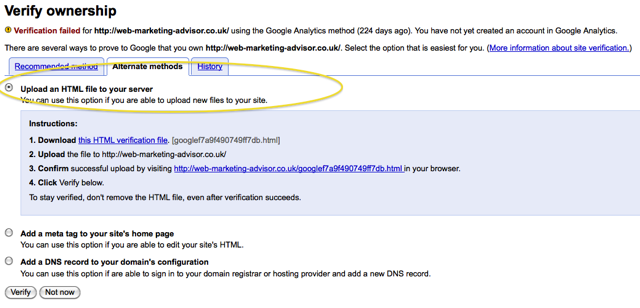 upload file verification method google webmaster tools upload html file method
