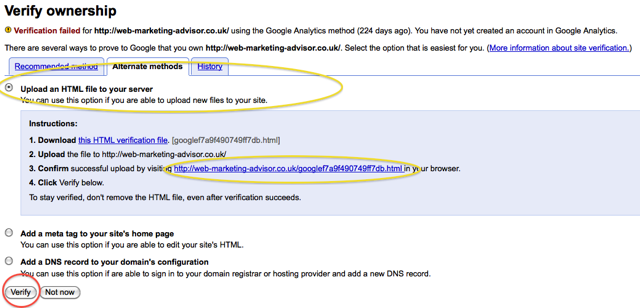 upload file verification method google webmaster tools verify site