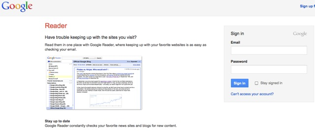 What should I tweet about -google reader signin